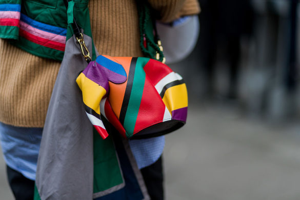 LONDON, ENGLAND - JANUARY 06: A Loewe Elephant Mini Bag Stripes multicolour during London Fashion Week Men's January 2017 collections at Xander Zhou on January 6, 2017 in London, England. (Photo by Christian Vierig/Getty Images)