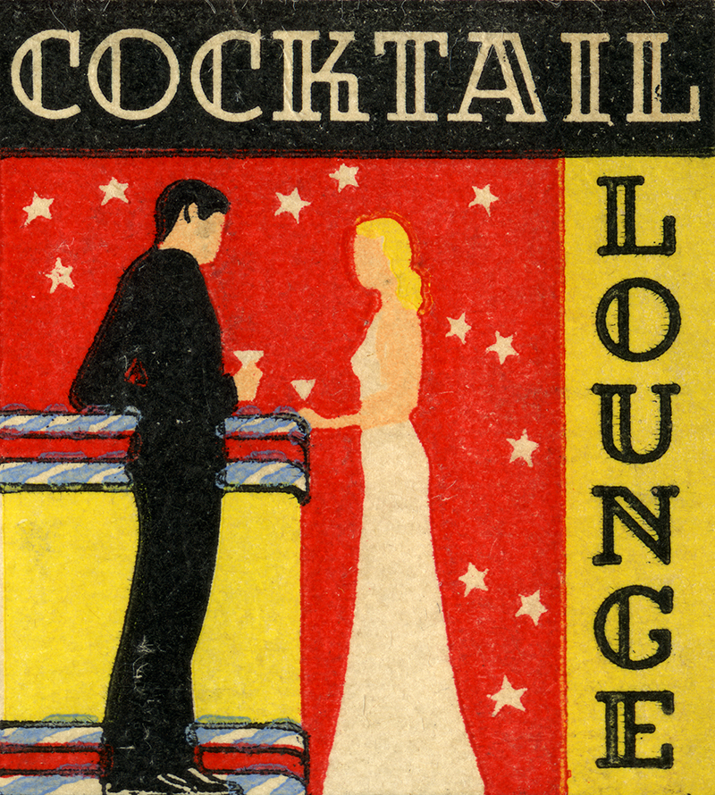 Matchbook image of man and woman standing at a bar and drinking together. Starry pattern in background.