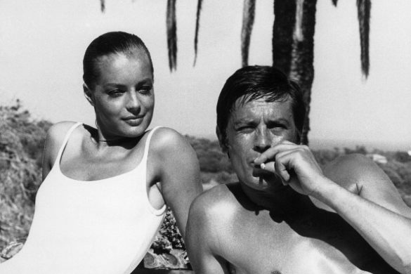 Alain Delon mit Romy Schneider am Set von 'The Swimming Pool'